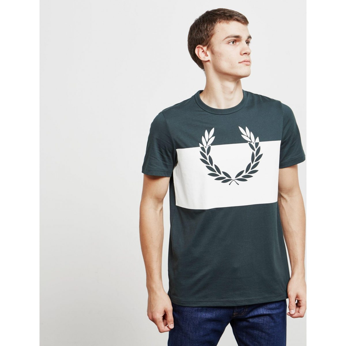 fred perry Green Mens Laurel Block Short Sleeve T shirt Green scaled