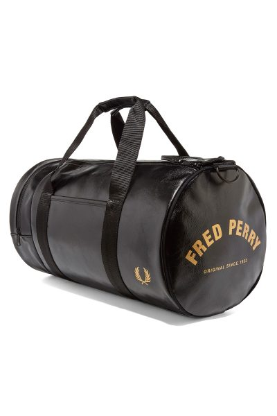fred perry authentic classic barrel bag black gold p35156 305279 image