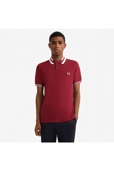 fred perry block tipped polo shirt tawny port p11245 27807 image