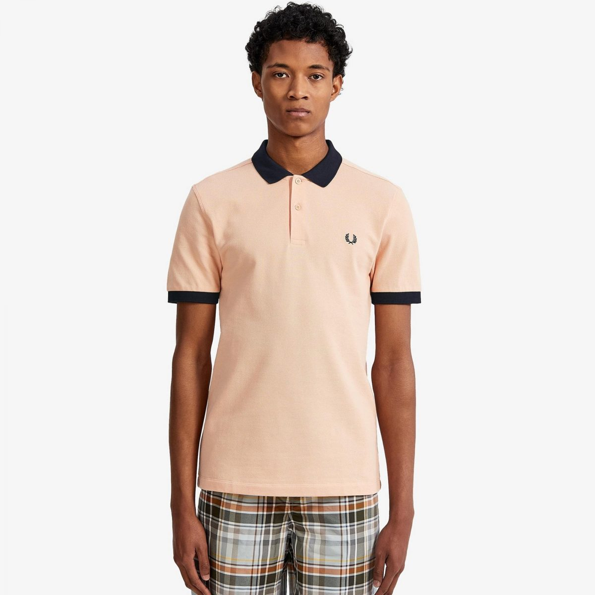 fred perry colour block piqué polo shirt apricot p8106 22028 zoom