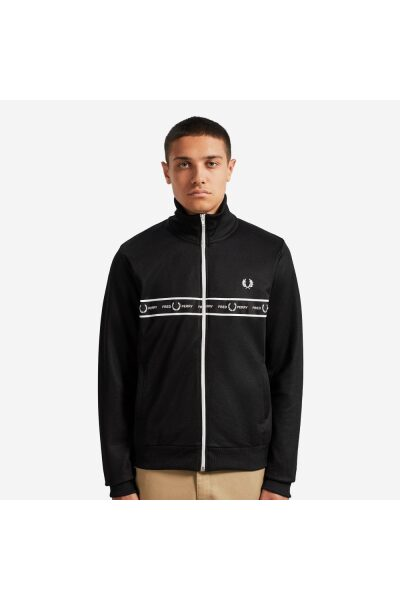 fred perry j7501 taped chest track jacket black p64249 333408 image