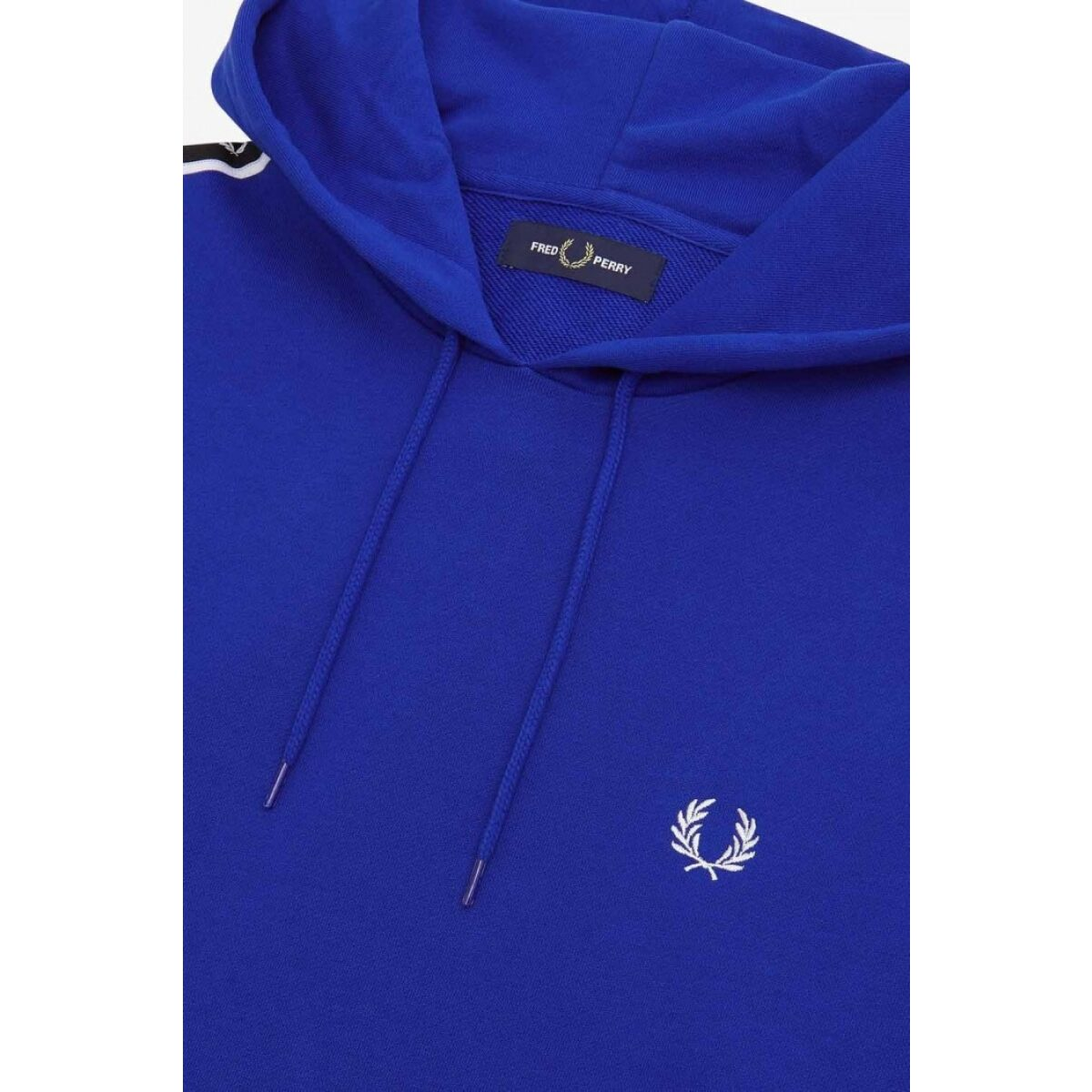 fred perry taped sleeve hooded sweatshirt bright regal j7528 l88 504
