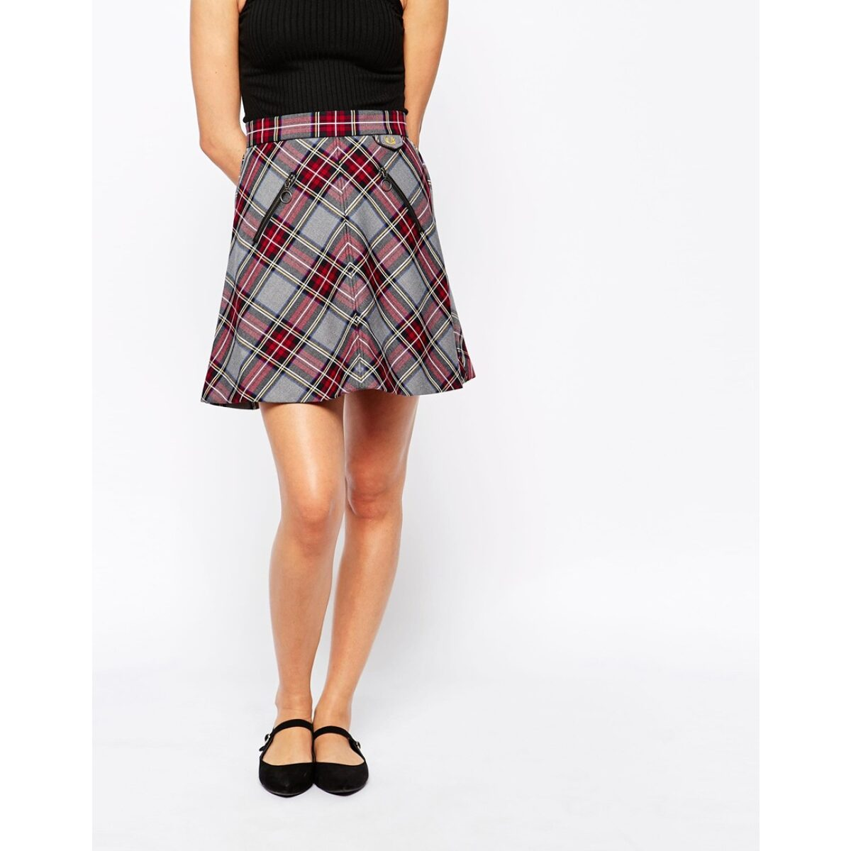 fred perry red a line tartan skirt product 2 118425645 normal