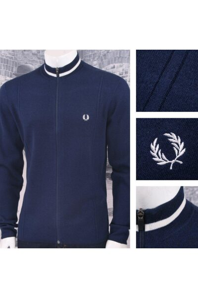 lrgscaleFred Perry AW17 Zip Funnel Neck Jumper Blue