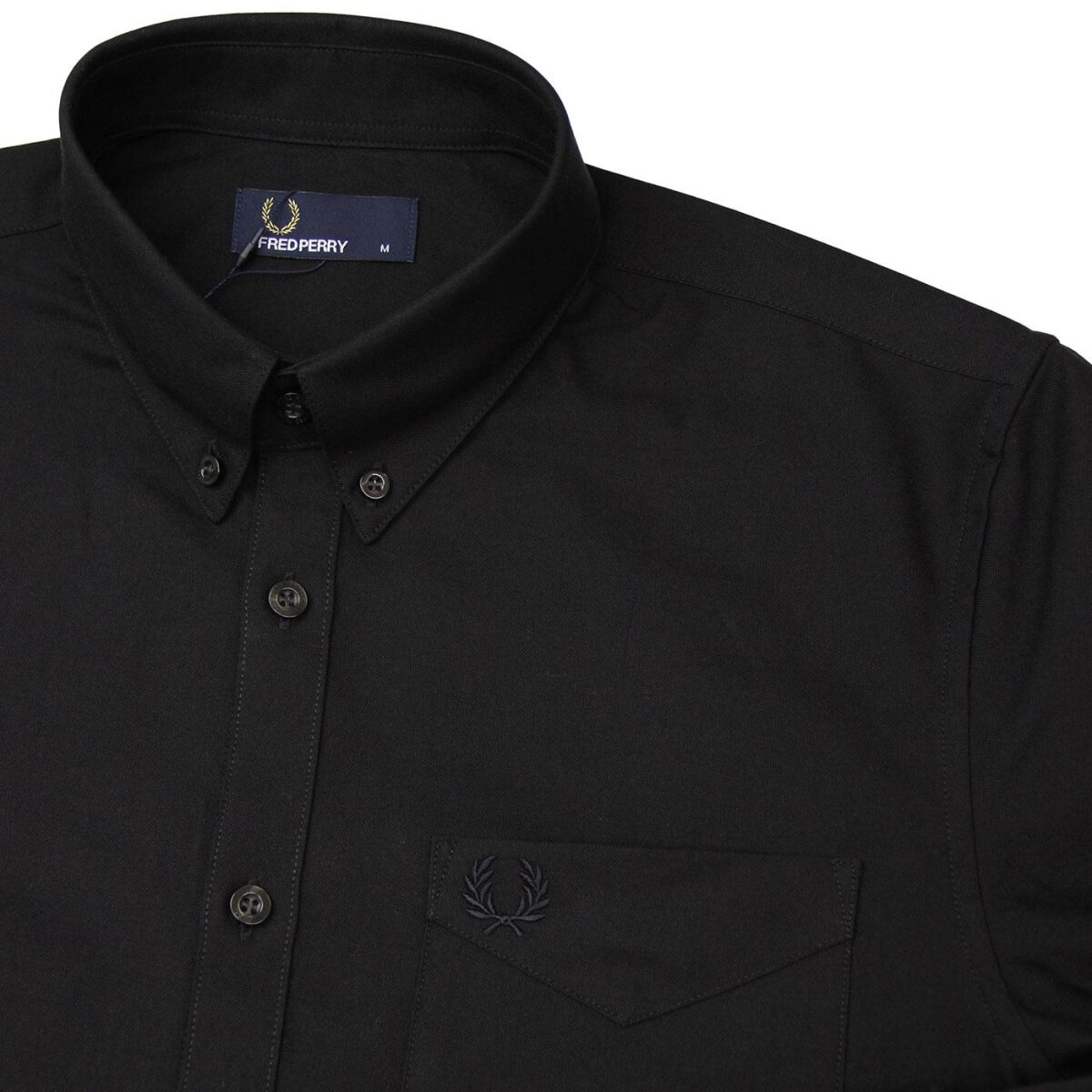 fred perry button down oxford shirt black 1