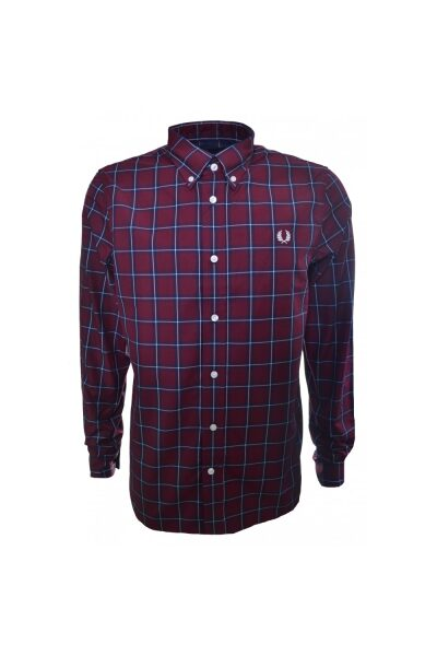 fred perry fred perry mens compact winter mahogany check shirt p2973 13371 zoom