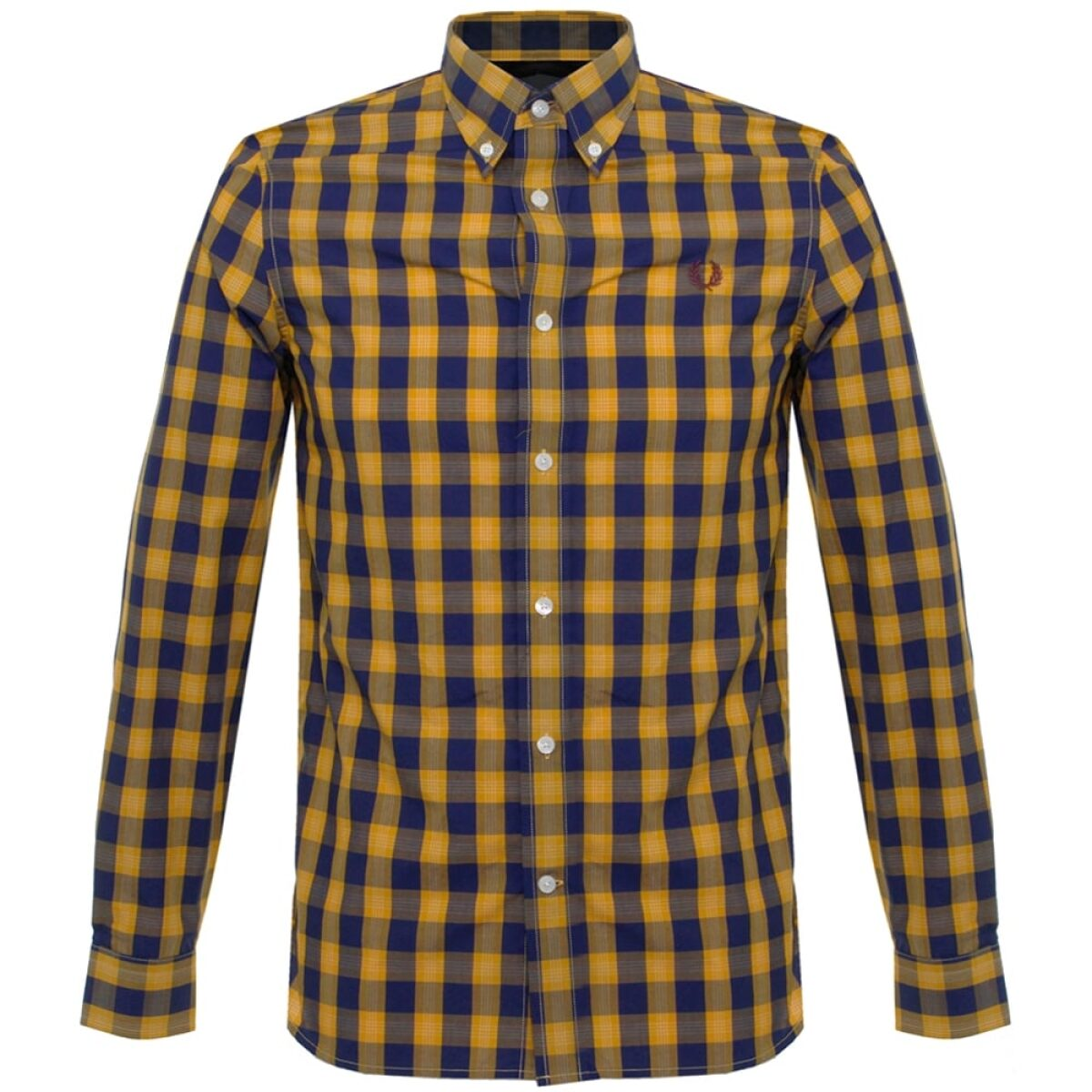 fred perry fred perry tartan gingham mustard shirt m8274 886 p23978 91039 zoom