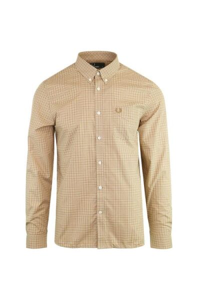 fred perry ls gingham shirt brown 1