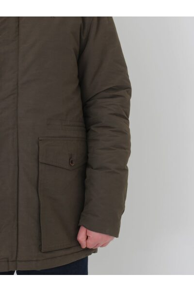 fred perry quilted fur trim parka wren p32842 505841 image