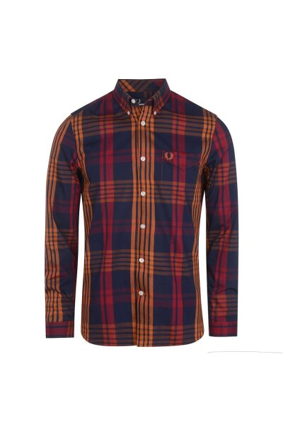 fred perry twill check shirt in blue 124508 7 90247