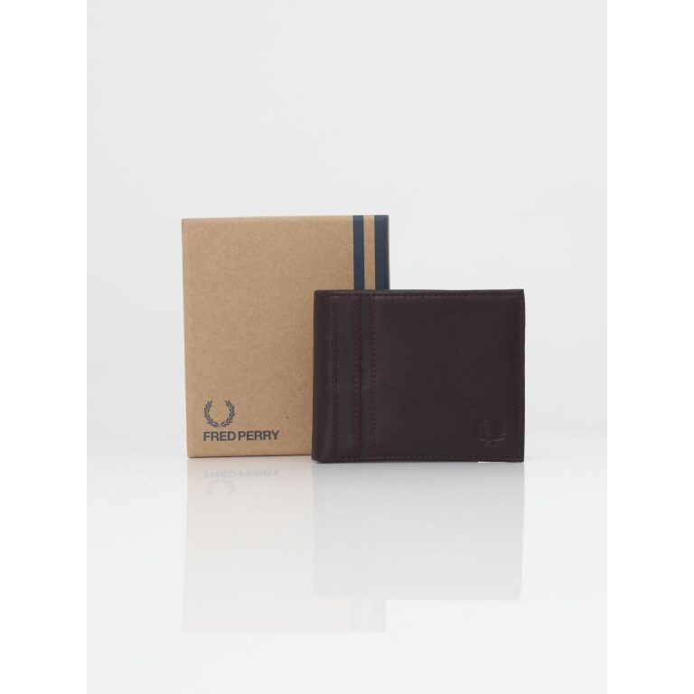 fred perry textured tipped wallet oxblood p32604 503289 image