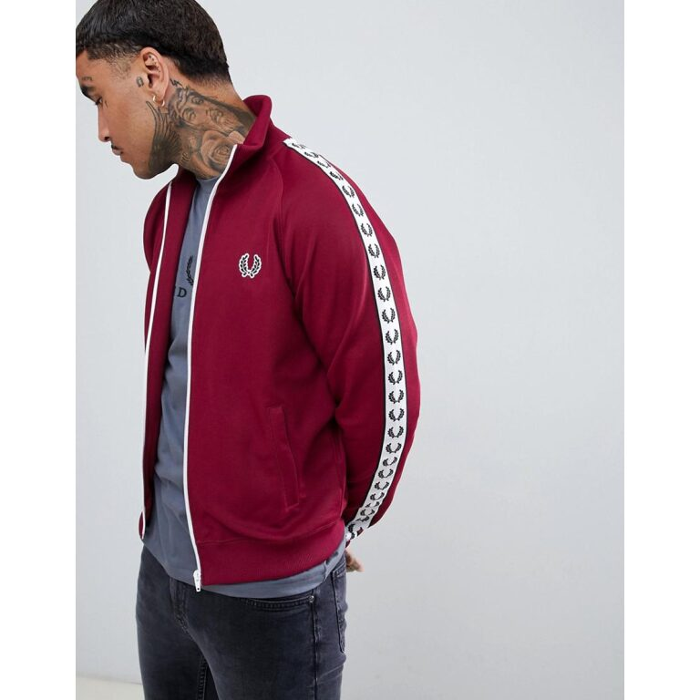 fred perry red Sports Authentic Taped Track Jacket In Burgundy