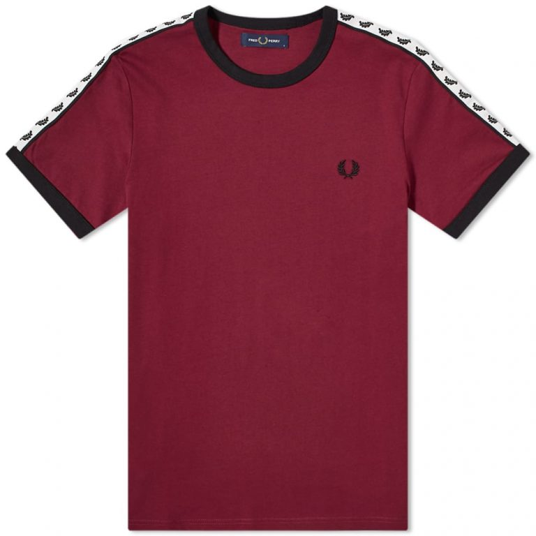 fred perry authentic taped ringer tee tawny port m6347 j69 1