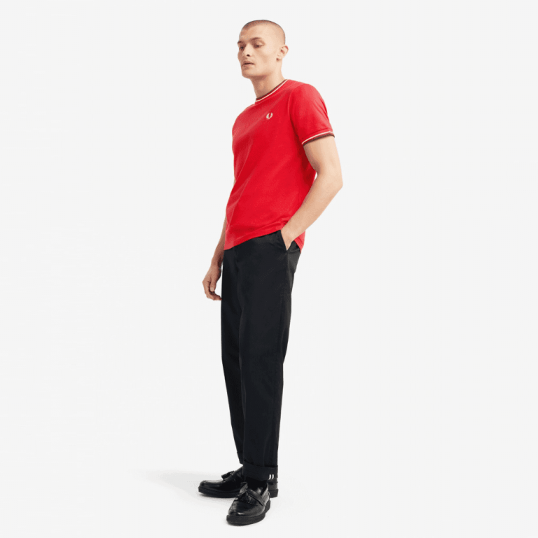 fred perry twin tipped t shirt jester red p11262 27687 image