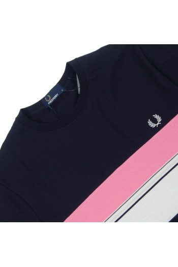 fred perry m6518 striped chest panel t shirt navy p23753 53011 image