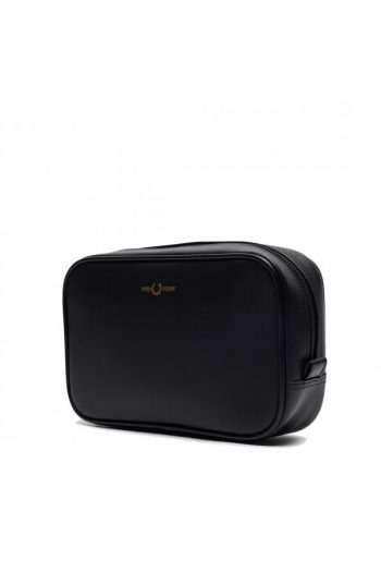 fred perry leather wash bag black l8275 102